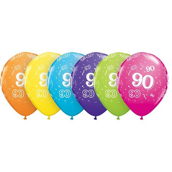 Zahl 90 Tropical bedruckter Ballon