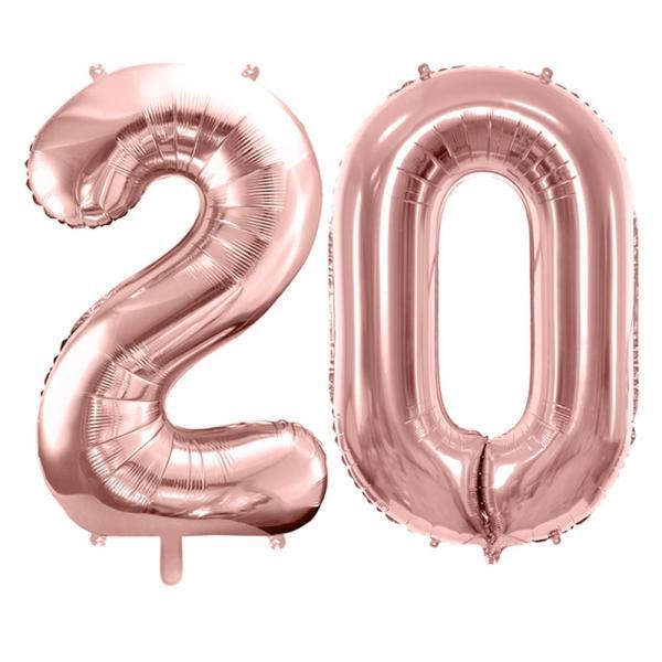 Zahlen Ballon Set 20 Rosegold