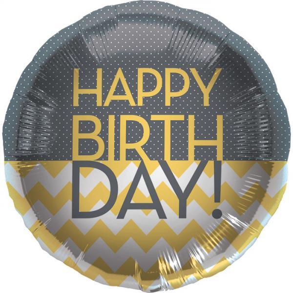 Happy Birthday Chevron Folienballon