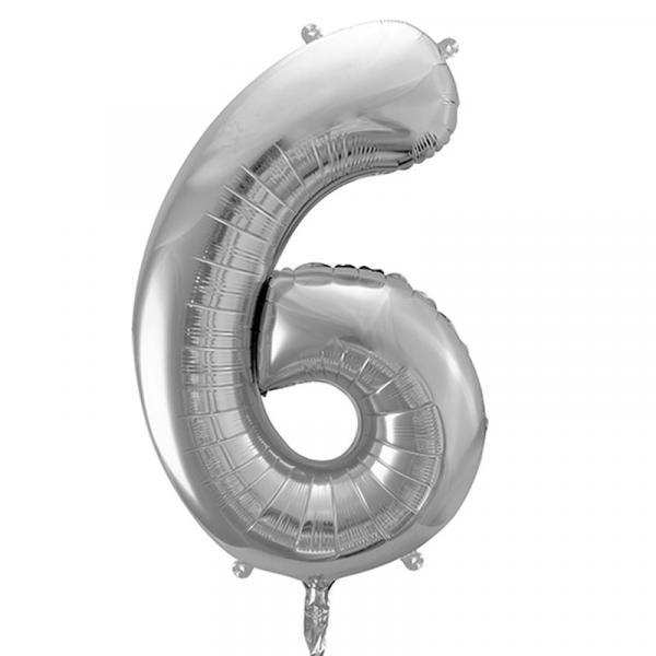 Zahlenballon 6 Silber XXL