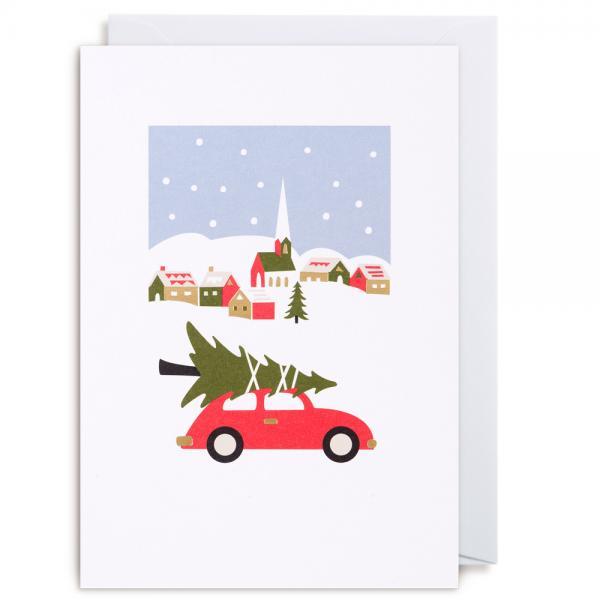 Grußkarte Weihnachtsbaum auf dem Auto