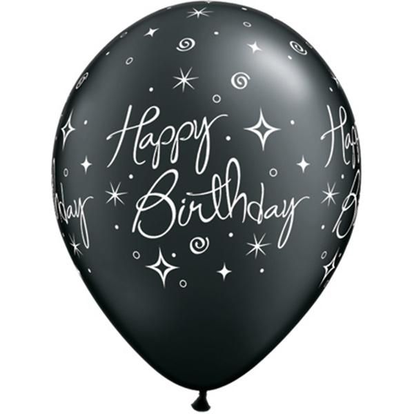 Geburtstagsluftballon Happy Birthday schwarz