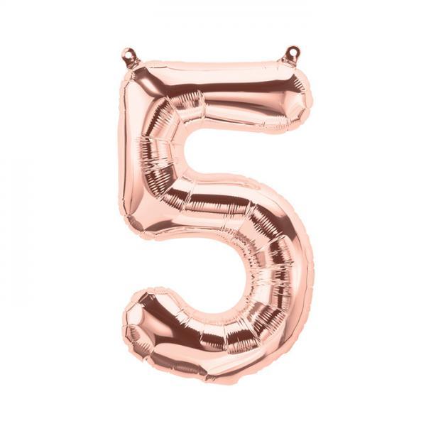 Zahl 5 ballon rosegold