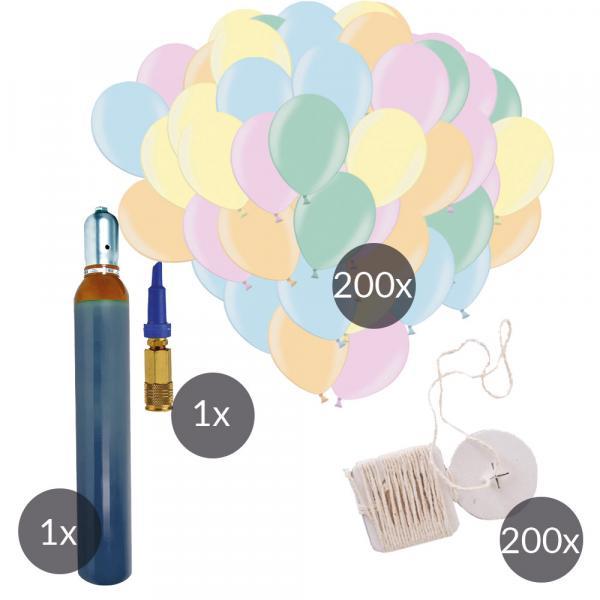 Ballonset mit 200 Naturlatexballons 200 Naturbändern und 20l Helium
