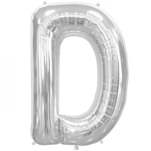 Buchstabe D Folienballon Silber XXL