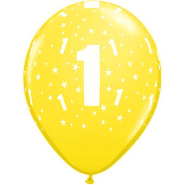 Luftballon mit Zahl 1 gelb