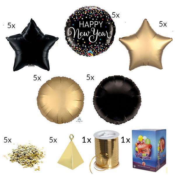 Silvester Ballon Set Schwarz Gold Folienballons