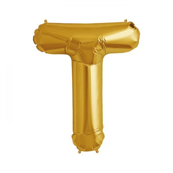 Buchstabe T Folienballon Gold