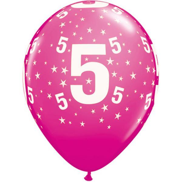 Zahl 5 Stars Festive bedruckter Ballon