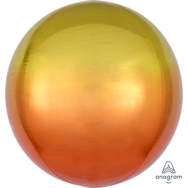 Orbz Kugel Folienballon gelb Orange Verlauf 45cm
