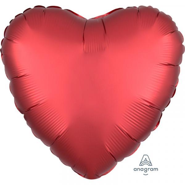 Folienballon Herz Rot Chrome