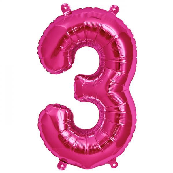 Zahl 3 Folienballon pink