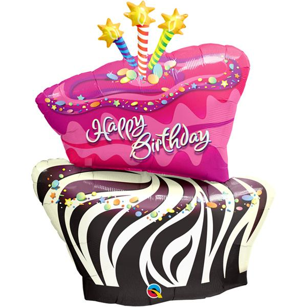 Birthday Funky Zebra Stripe Cake Folienballon