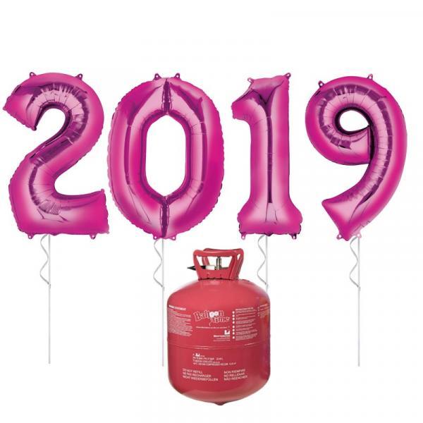 Zahlenballon 2019 SIlvester XXL mit Helium