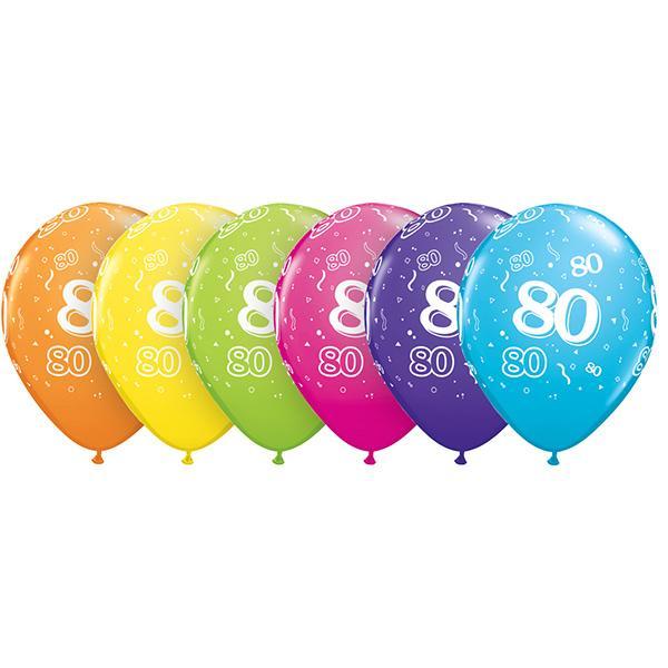 Zahl 80 Tropical bedruckter Ballon
