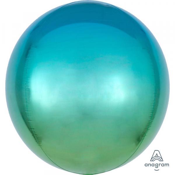 Orbz Kugel Folienballon Blau Grün Verlauf 45cm