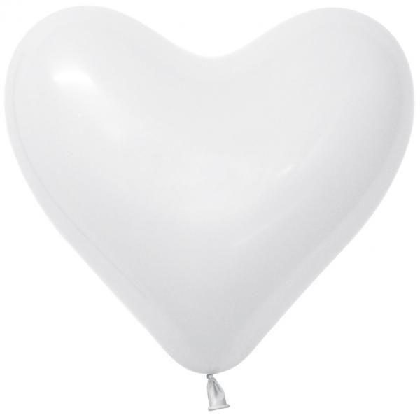 Herzluftballon Latex Weiß 35cm