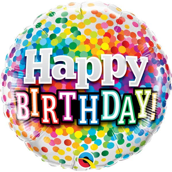 Happy B Day Konfettimuster Ballon