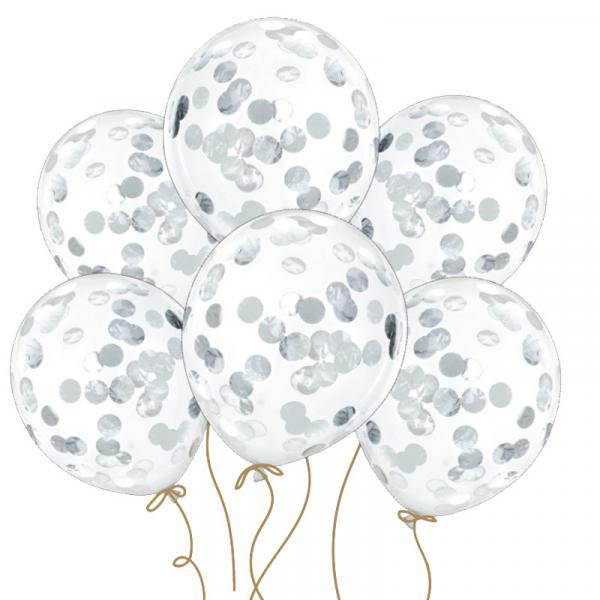 Konfetti Ballons - Silber 6 Stück