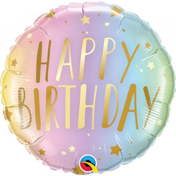 Happy Birthday Gold Ombre Pastel Foilenballon