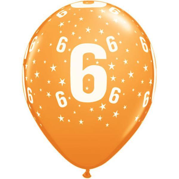 Zahl 6 Stars Festive bedruckter Ballon