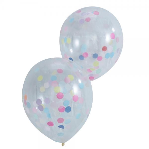 5 Konfetti Ballons buntes Konfetti