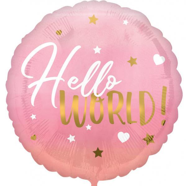 Hello World Pink Baby Folienballon