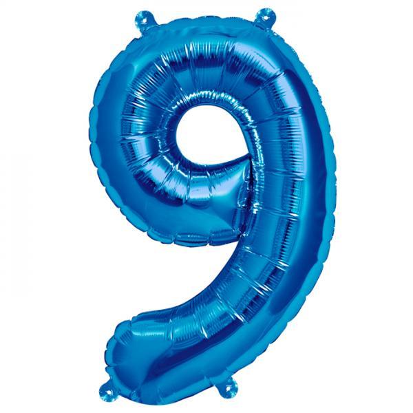 Zahl 9 Folienballon blau