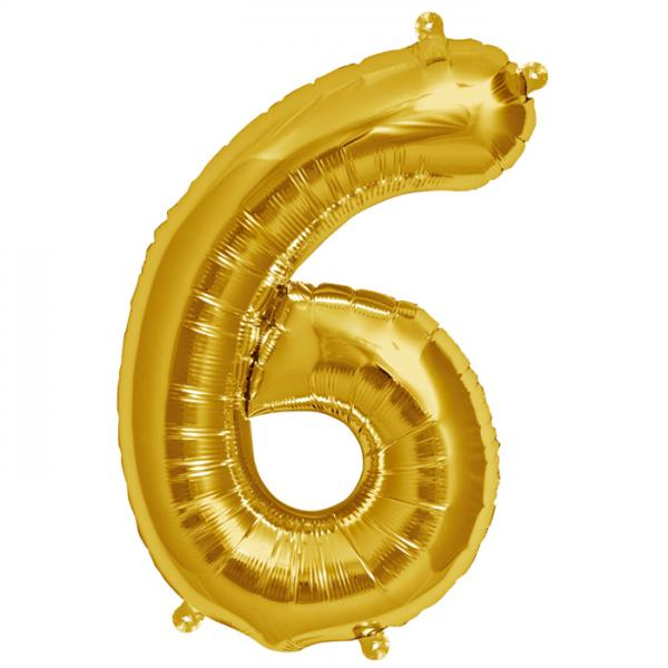 Zahl 6 Folienballon gold