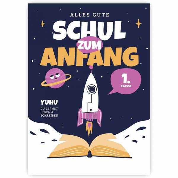Postkarte Schulanfang Rakete