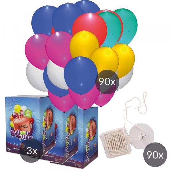 LED Luftballon SET 90 mit Helium und Ökobändern