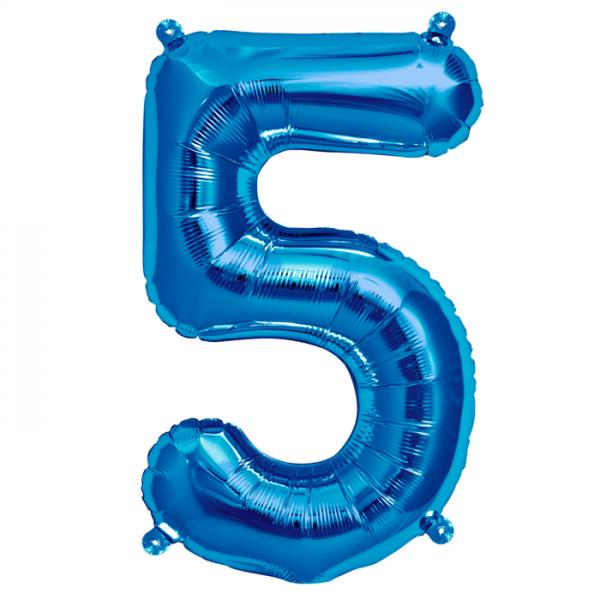 Zahl 5 Folienballon blau