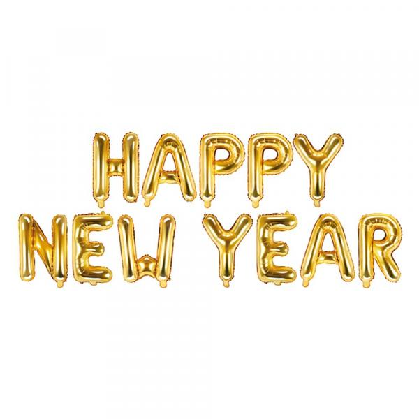 Happy New Year Ballon Set Gold