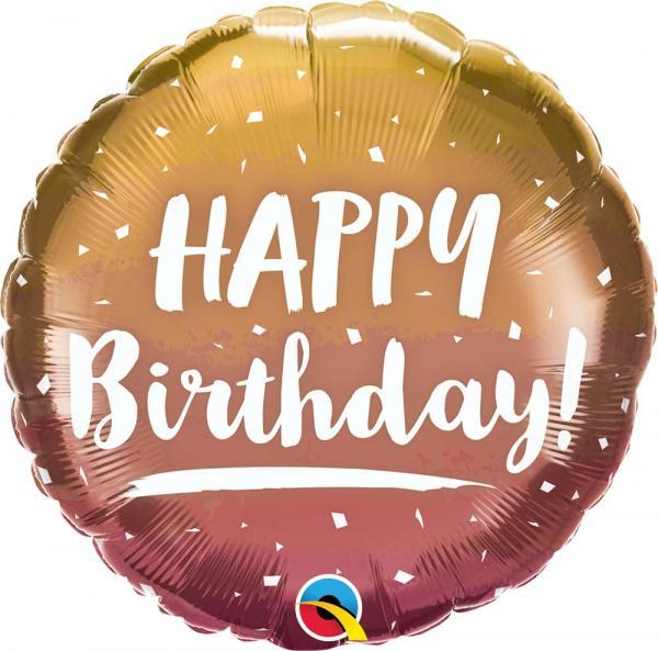 Happy Birthday Gold Kupfer Ballon