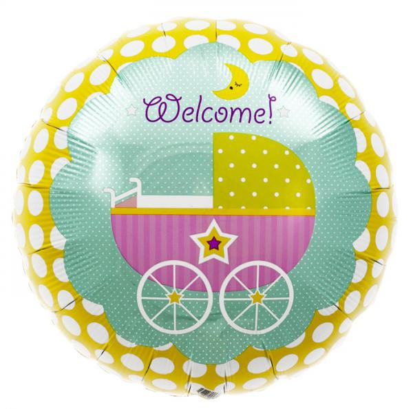 Welcome Baby Buggy Folienballon
