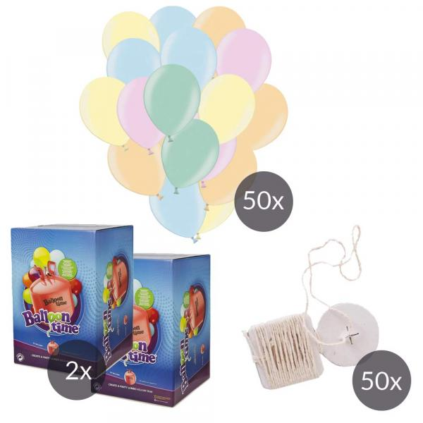 50 Luftballons & Helium Set