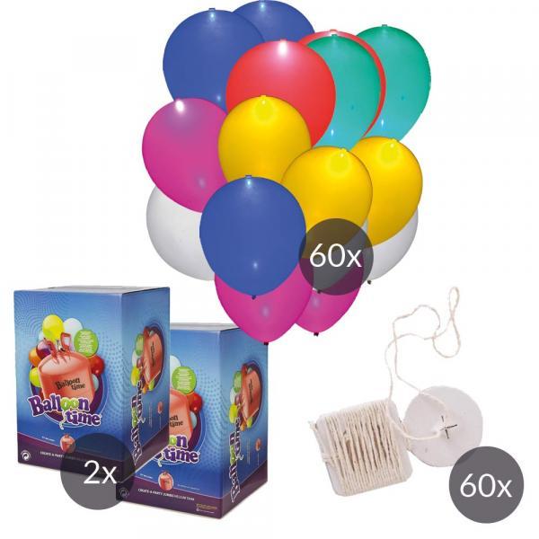 LED Luftballon SET 60 mit Helium und Ökobändern