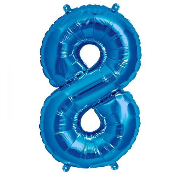 Zahl 8 Folienballon blau