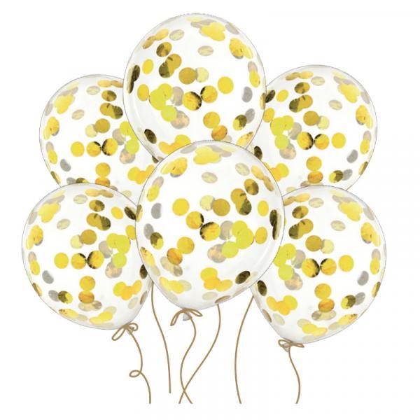 Konfetti Ballons - Gold 6 Stück