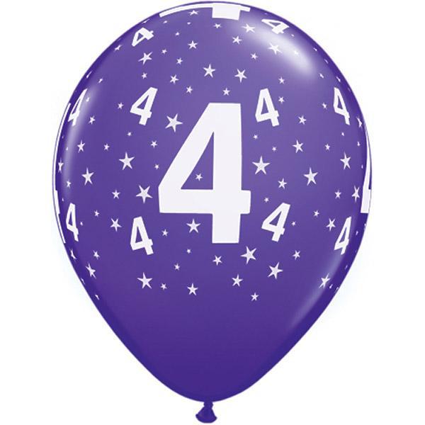 Zahl 4 Stars Festive bedruckter Ballon