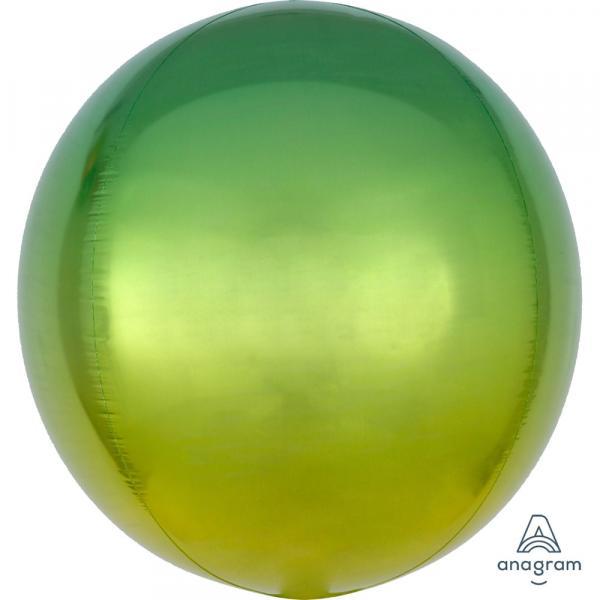 Orbz Kugel Folienballon Gelb Grün Verlauf 45cm