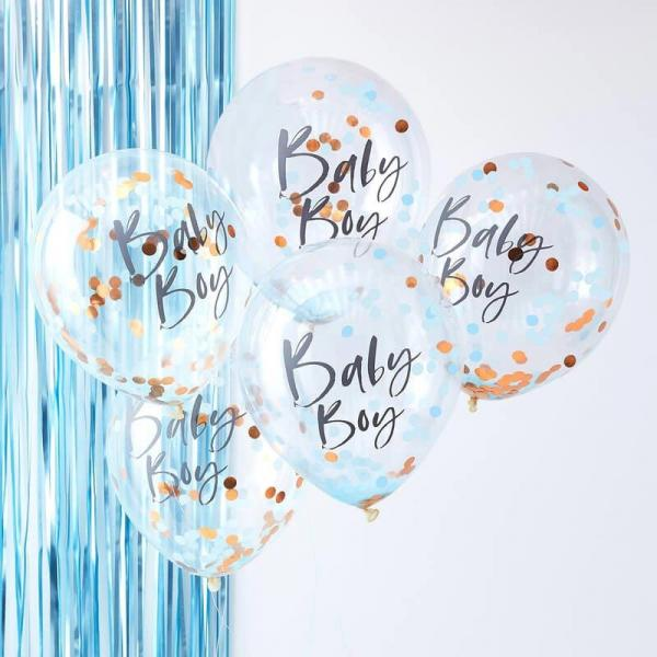 5 Konfetti Ballons rosegoldenes & blaues Konfetti Baby Baby Aufschrift