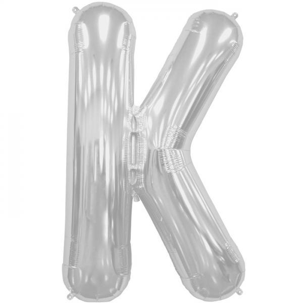 Buchstabe K Folienballon Silber XXL