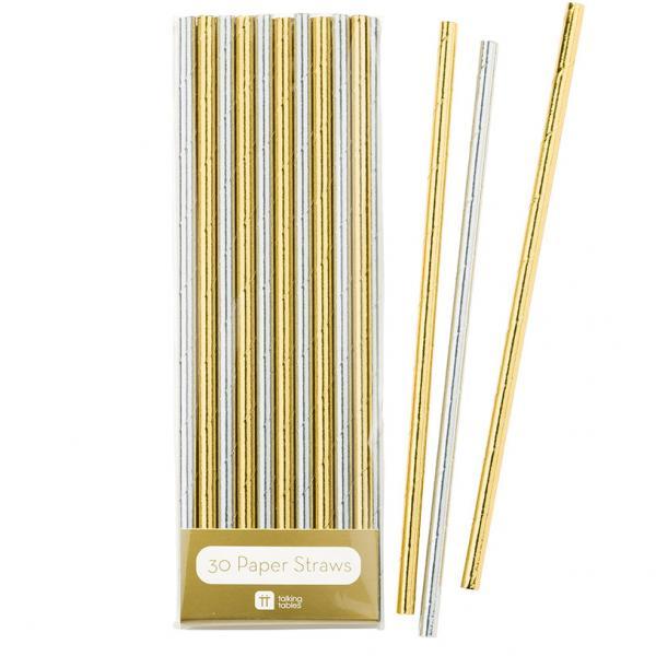 Papierstrohhalme metallic gold/silber