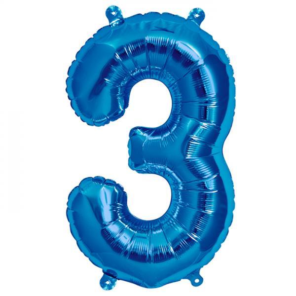 Zahl 3 Folienballon blau