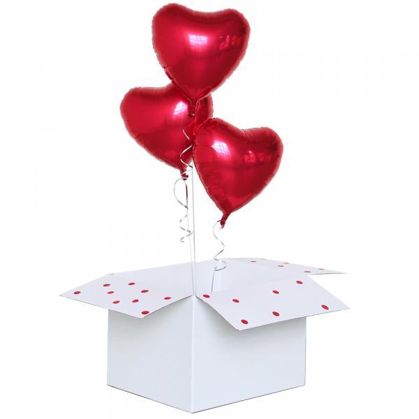 3 Herzballon Rot mit Helium