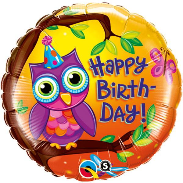 Eule Happy Birthday Folienballon