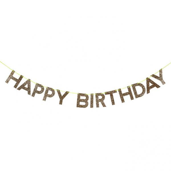 Happy Birthday Glitzer Girlande
