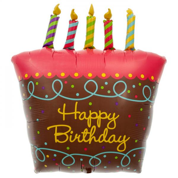 Geburtstagskuchen mit Kerzen Folienballon