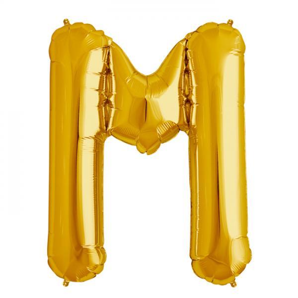 Folienballon Zahl M Gold